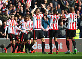 Sunderland players celebrate their team's second goal by Billy Jones during the Barclays Premier League match between Sunderland and Newcastle United...