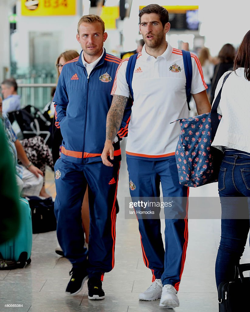 Sunderland players Lee Cattermole and Danny Graham walk through Heathrow Airport as Sunderland AFC set off on Day one of their PreSeason Tour of the...