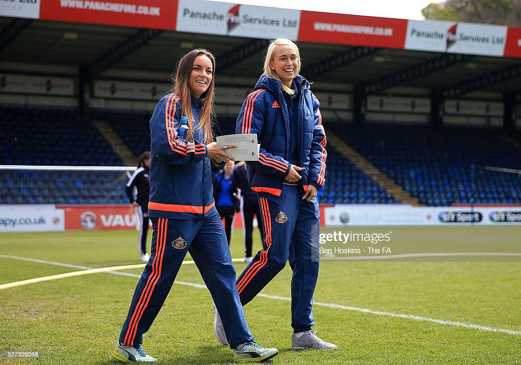Sunderland players make their way out on to the pitch ahead of the WSL 1 match between Reading FC Women and Sunderland AFC Ladies on May 2, 2016 in High Wycombe, England.