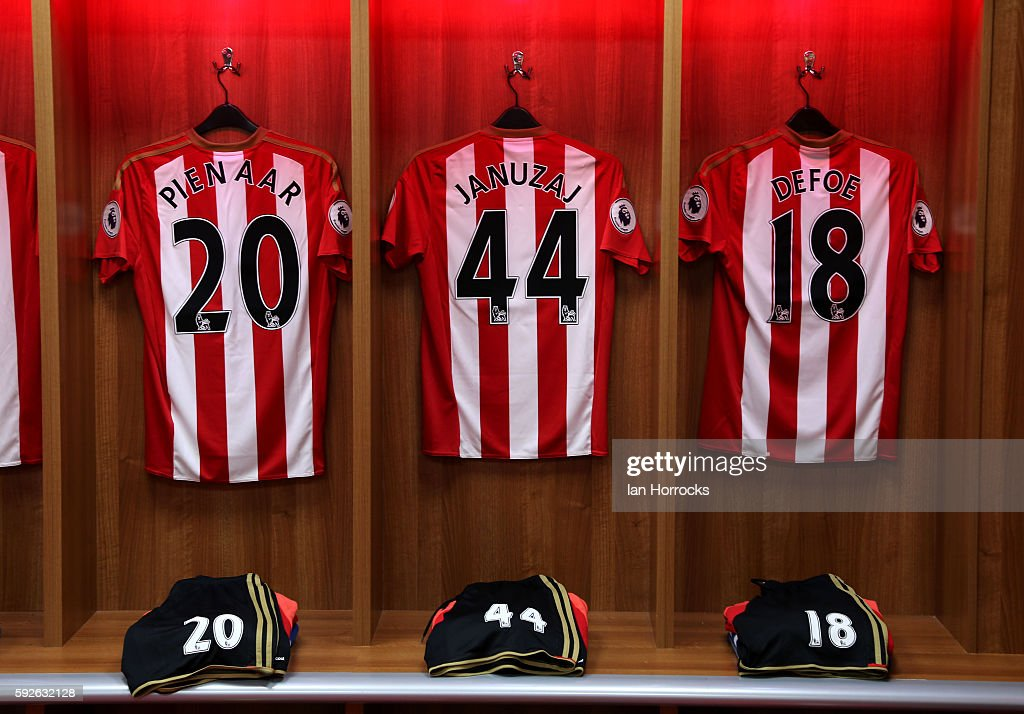 Sunderland shirts hang in the dressing room during the Premier League match between Sunderland AFC and Middlesbrough FC at Stadium of Light on August...