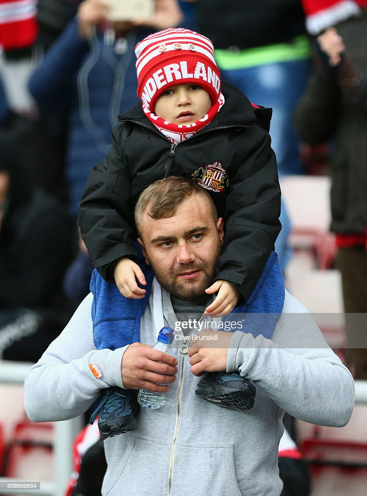 Sunderland supporters are seen on the stand prior to the Barclays Premier League match between Sunderland and Manchester United at the Stadium of Light on February 13, 2016 in Sunderland, England.