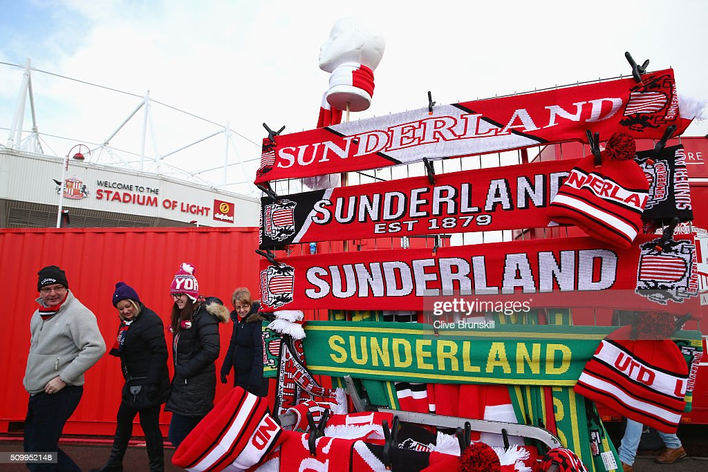 Sunderland supporters check an marchandise stall prior to the Barclays Premier League match between Sunderland and Manchester United at the Stadium of Light on February 13, 2016 in Sunderland, England.