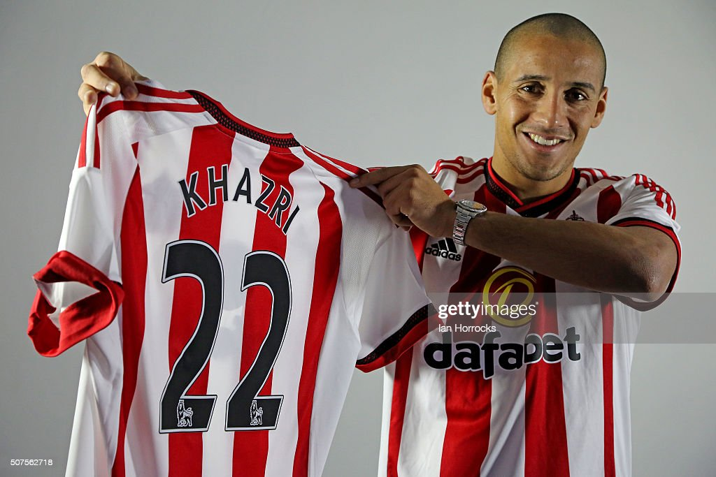 Sunderland unveil new signing <a gi-track='captionPersonalityLinkClicked' href=/galleries/search?phrase=Wahbi+Khazri&family=editorial&specificpeople=7211185 ng-click='$event.stopPropagation()'>Wahbi Khazri</a> poses at The Academy of Light on January 30, 2016 in Sunderland, England.