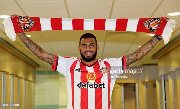 Sunderland unveil new signing Yann M'Vila at the Academy of Light on August 05 2015 in Sunderland England