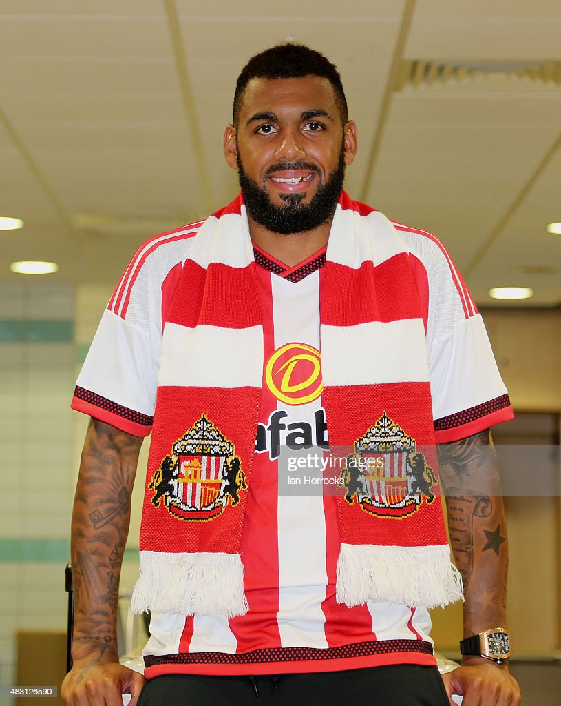 Sunderland unveil new signing <a gi-track='captionPersonalityLinkClicked' href=/galleries/search?phrase=Yann+M%27Vila&family=editorial&specificpeople=6130765 ng-click='$event.stopPropagation()'>Yann M'Vila</a> at the Academy of Light on August 05, 2015 in Sunderland, England.