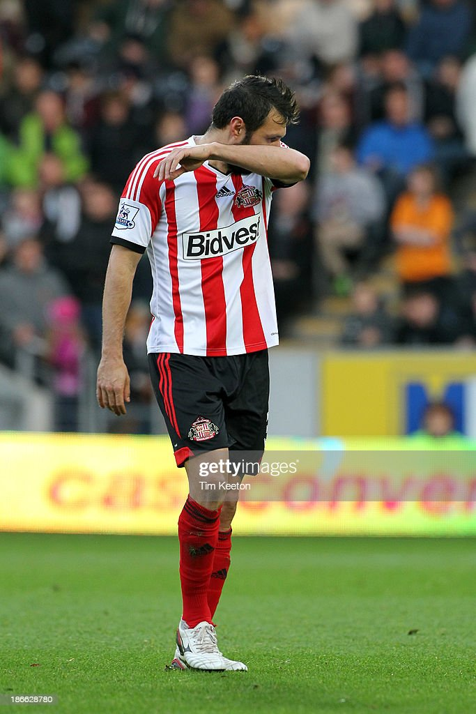 Sunderland's Andrea Dossena is sent off during the Barclays Premier League match between Hull City and Sunderland at KC Stadium on November 02, 2013 in Hull, England.
