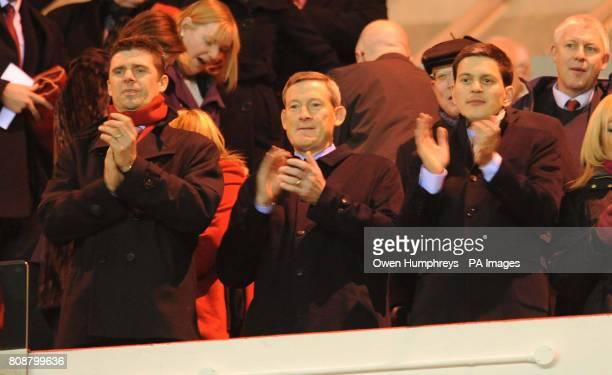 Sunderland's chairman Niall Quinn Ellis Short and David Miliband during the Barclays Premier League match at the Stadium of Light Sunderland