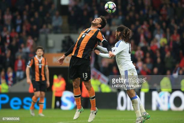 Sunderland's Dutch defender Jason Denayer vies with Hull City's Italian defender Andrea Ranocchia during the English Premier League football match...