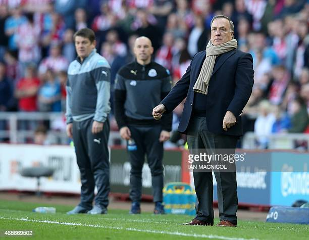 Sunderland's Dutch manager Dick Advocaat gestures during the English Premier League football match between Sunderland and Newcastle United at The...