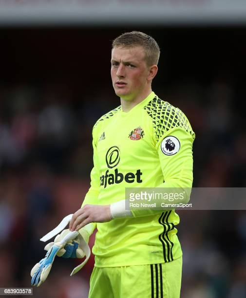Sunderland's Jordan Pickford during the Premier League match between Arsenal and Sunderland at Emirates Stadium on May 16 2017 in London England