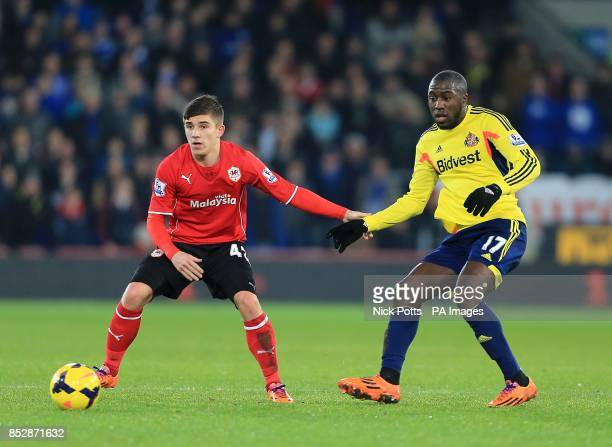 Sunderland's Jozy Altidore and Cardiff City's Declan John battle for the ball