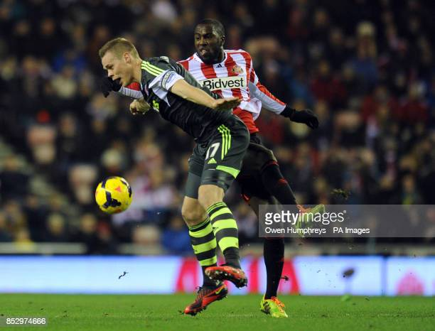 Sunderland's Jozy Altidore and Stoke's Ryan Shawcross in action during the Barclays Premier League match at The Stadium of Light Sunderland