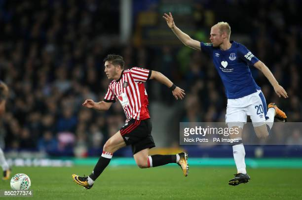 Sunderland's Lyndon Gooch and Everton's Davy Klaassen during the Carabao Cup Third Round match at Goodison Park Liverpool