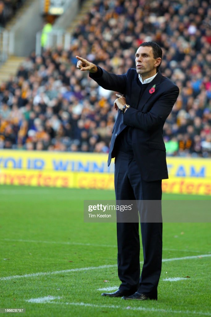 Sunderland's Manager, Gustavo Poyet during the Barclays Premier League match between Hull City and Sunderland at KC Stadium on November 02, 2013 in Hull, England.