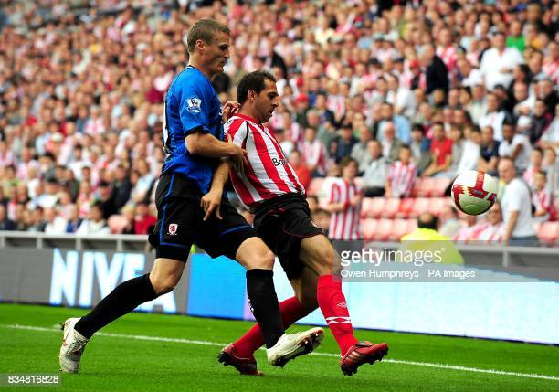 Sunderland's Michael Chopra and Middlesbrough's Robert Huth battle for the ball