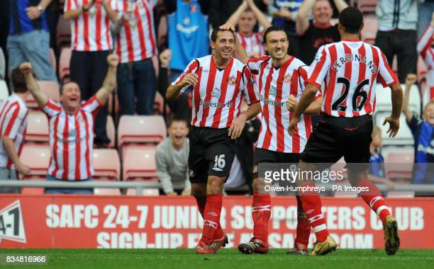 Sunderland's Michael Chopra celebrates his 2nd goal during the Barclays Premier League match at the Stadium of Light Sunderland