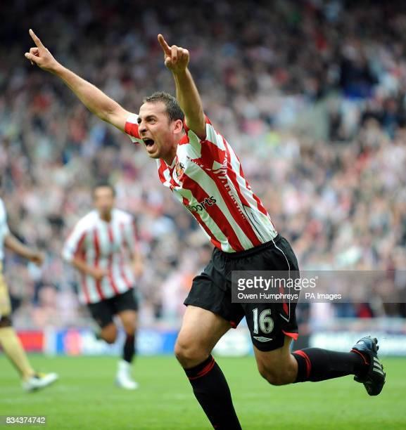 Sunderland's Michael Chopra celebrates scoring during the Barclays Premier League match at the Stadium of Light Sunderland