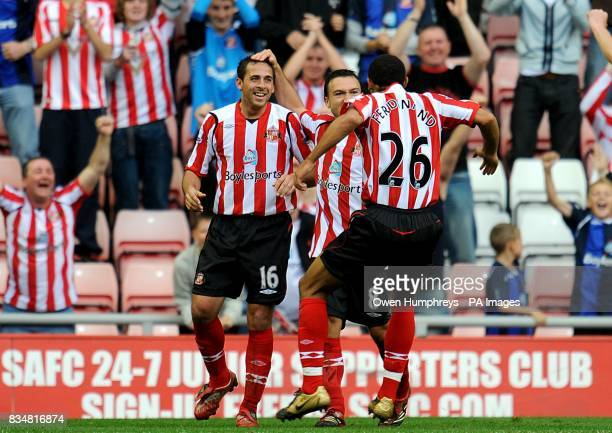 Sunderland's Michael Chopra celebrates scoting his second goal of the game