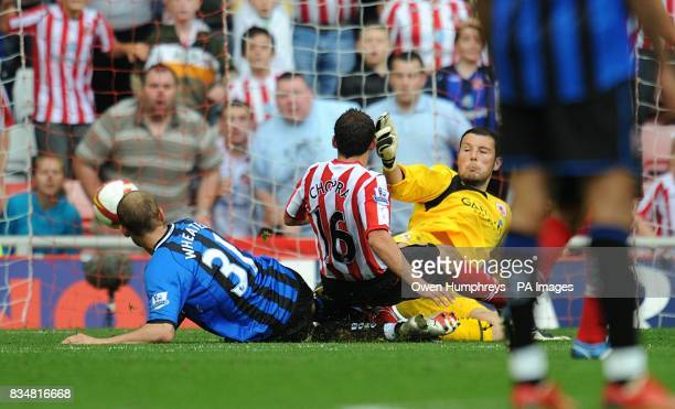 Sunderland's Michael Chopra scores the opening goal of the game