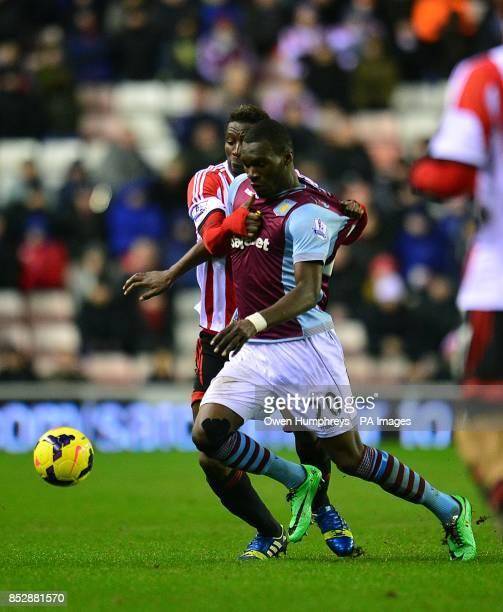 Sunderland's Modibo Diakite and Aston Villa's Christian Benteke battle for the ball