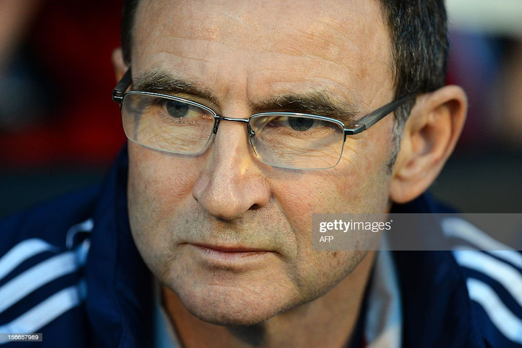 """Sunderland's Northern Irish manager Martin O'Neill is seen ahead of the English Premier League football match between Fulham and Sunderland at Craven Cottage in London on November 18, 2012. USE. No use with unauthorized audio, video, data, fixture lists, club/league logos or """"live"""" services. Online in-match use limited to 45 images, no video emulation. No use in betting, games or single club/league/player publications."""