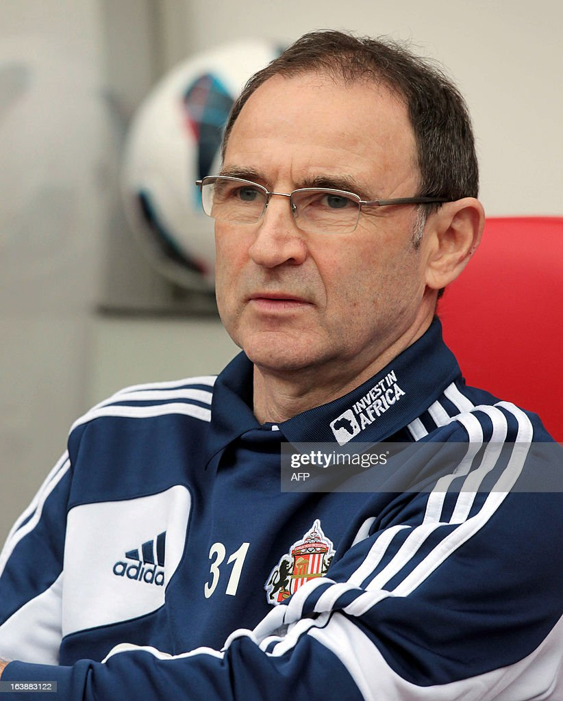"Sunderland's Northern Irish manager Martin O'Neill takes his seat ahead of the the English Premier League football match between Sunderland and Norwich City at The Stadium of Light in Sunderland, north-east England, on March 17, 2013. USE. No use with unauthorized audio, video, data, fixture lists, club/league logos or ""live"" services. Online in-match use limited to 45 images, no video emulation. No use in betting, games or single club/league/player publications."