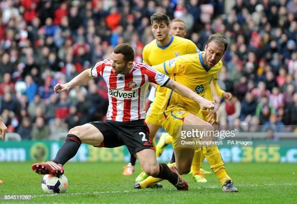 Sunderland's Phil Bardsley and Crystal Palace's Glenn Murray battle for the ball