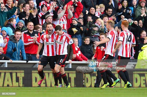 Sunderland's Phil Bardsley celebrates scoring their first goal of the game with teammates