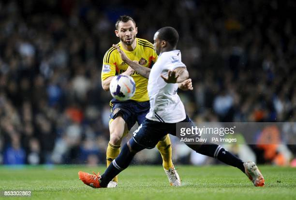Sunderland's Phil Bardsley collides with Tottenham Hotspur's Danny Rose