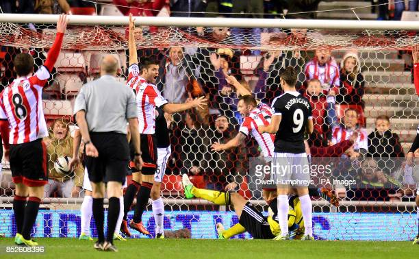 Sunderland's Phil Bardsley scores during the Capital One Cup match at the Stadium of Light Sunderland
