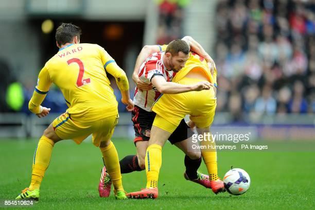 Sunderland's Phil Bardsley up against Crystal Palace's Joe Ledley
