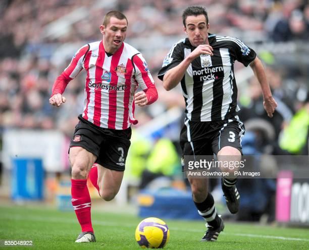 Sunderland's Phillip Bardsley and Newcastle United's Sanchez Jose Enrique battle for the ball