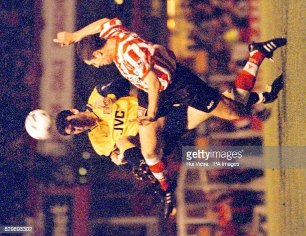 Sunderland's Richard Ord attempts to get to the ball before Arsenal's Martin Keown during the FA Cup tie at Roker Park tonight Photo by Rui Vieira/PA