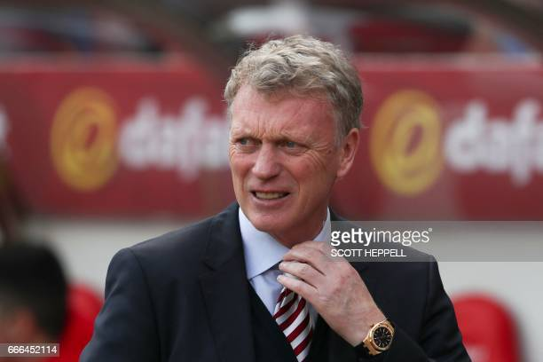 Sunderland's Scottish manager David Moyes arrives ahead of the English Premier League football match between Sunderland and Manchester United at the...
