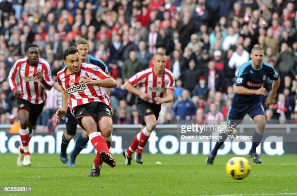 Sunderland's Steed Malbranque sees his penalty saved by Stoke City goalkeeper Asmir Begovic