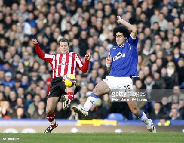 Sunderland's Teemu Tainio and Everton's Marouane Fellaini battle for the ball