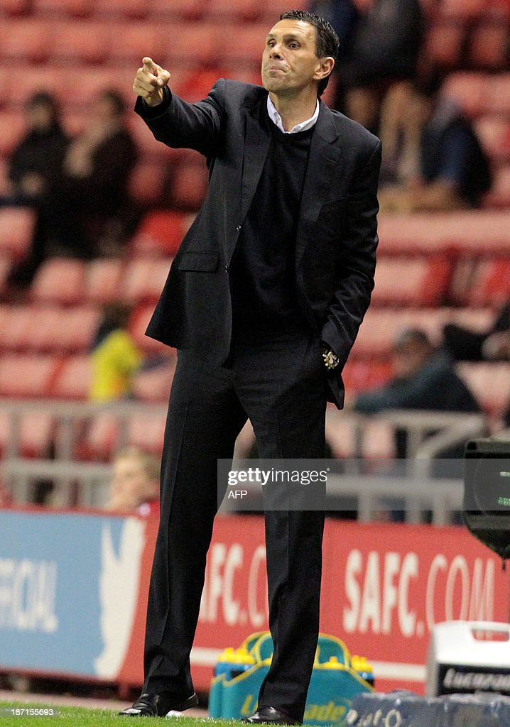 Sunderland's Uruguayan manager Gus Poyet is pictured during the English League Cup football match between Sunderland AFC and Southampton FC at the Stadium of Light in Sunderland, northern England, on November 6, 2013.