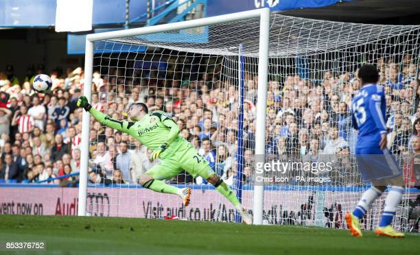 Sunderland's Vito Mannone makes a reaction save from Chelsea's Mohamed Salah during the Barclays Premier League match at Stamford Bridge London
