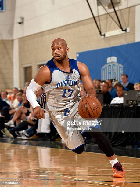 Sundiata Gaines of the Detroit Pistons drives to the basket against the Indiana Pacers on July 8 2015 at Amway Center in Orlando Florida NOTE TO USER...