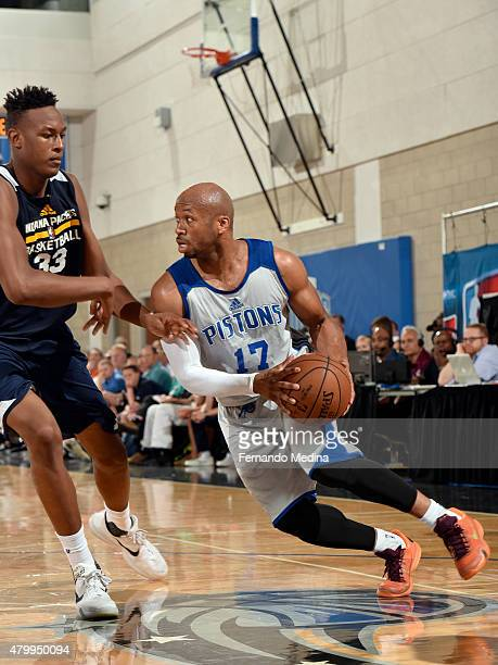 Sundiata Gaines of the Detroit Pistons handles the ball against Myles Turner of the Indiana Pacers on July 8 2015 at Amway Center in Orlando Florida...