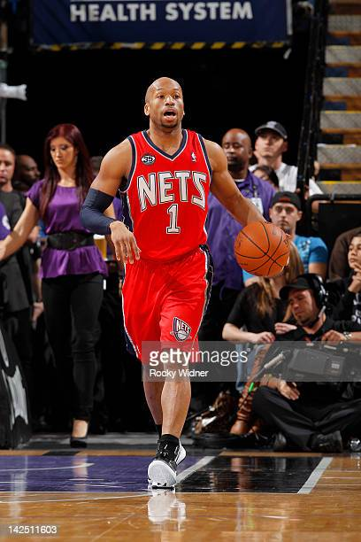 Sundiata Gaines of the New Jersey Nets brings the ball up the court against the Sacramento Kings on March 31 2012 at Power Balance Pavilion in...