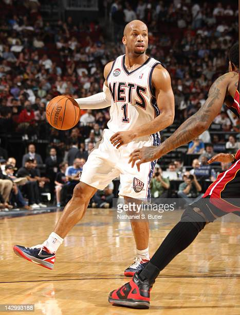 Sundiata Gaines of the New Jersey Nets controls the ball during the game against the Miami Heat on April 16 2012 at the Prudential Center in Newark...