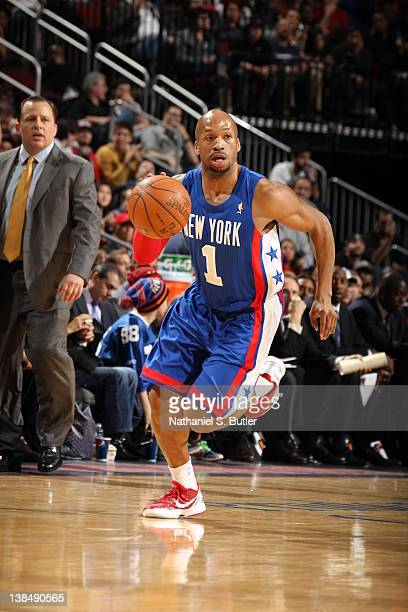 Sundiata Gaines of the New Jersey Nets dribbles against the Chicago Bulls during the game on February 6 2012 at the Prudential Center in Newark New...