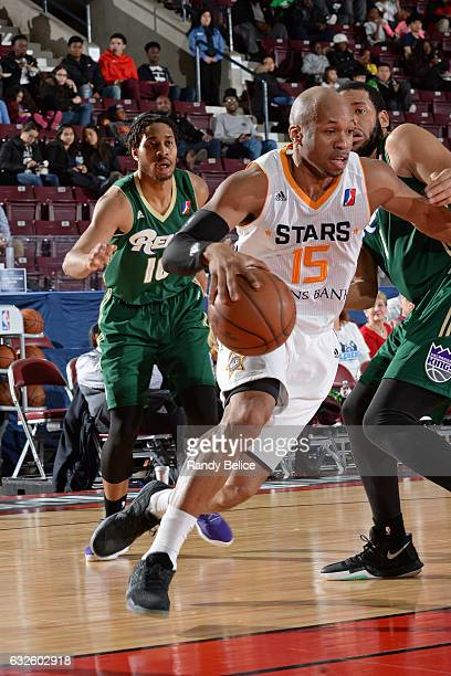 Sundiata Gaines of the Salt Lake City Star shoots the ball against the Reno Bighorns as part of 2017 NBA DLeague Showcase at the Hershey Centre on...