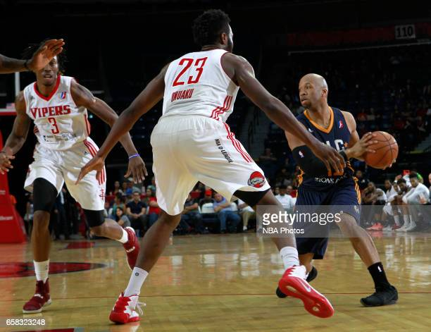 Sundiata Gaines of the Salt Lake City Stars dribbles the ball against the Rio Grande Valley Vipers at the State Farm Arena March 25 2017 in Hidalgo...