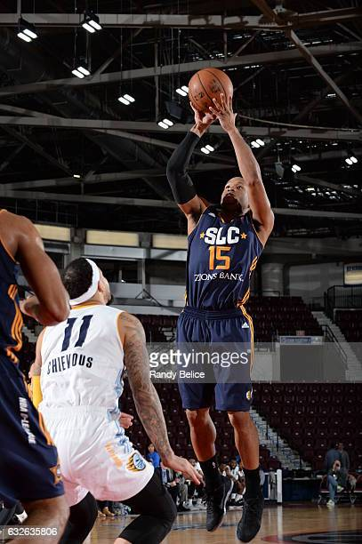 Sundiata Gaines of the Salt Lake City Stars goes up for the shot over Quinton Chievous of the Iowa Energy as part of 2017 NBA DLeague Showcase at the...