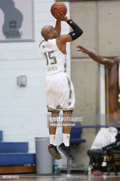 Sundiata Gaines of the Salt Lake City Stars puts the shot up against the Sioux Falls Skyforce at Bruins Arena on March 11 2017 in Taylorsville Utah...