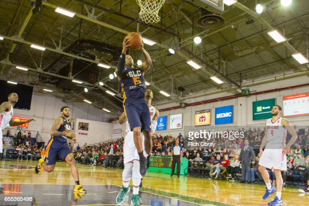 Sundiata Gaines of the Salt Lake City Stars shoots against the Maine Red Claws on Sunday March 19 2017 at the Portland Expo in Portland Maine NOTE TO...