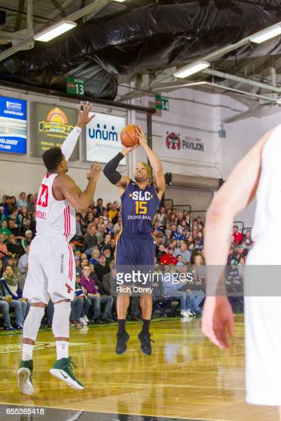 Sundiata Gaines of the Salt Lake City Stars shoots over Jordan Mickey of the Maine Red Claws on Sunday March 19 2017 at the Portland Expo in Portland...