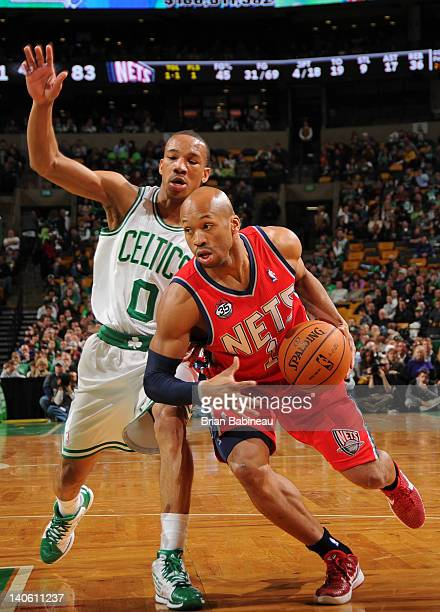Sundiata Gaines the New Jersey Nets drives the ball against Avery Bradley of the Boston Celtics on March 2 2012 at the TD Garden in Boston...